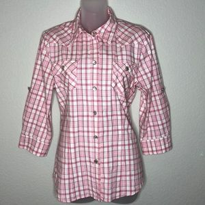 CAbi Pink Plaid Western Style Shirt #410 Sz Medium